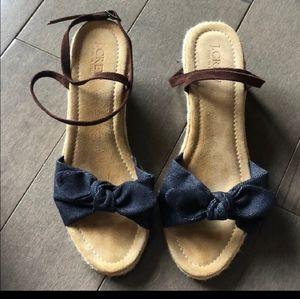 J Crew Blue Denim Espadrille Sandal Size 8